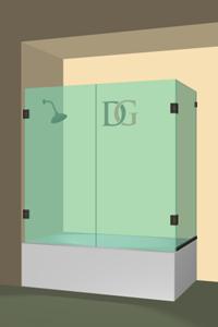 Double Dual Swinging Bathtub Doors Dulles Glass